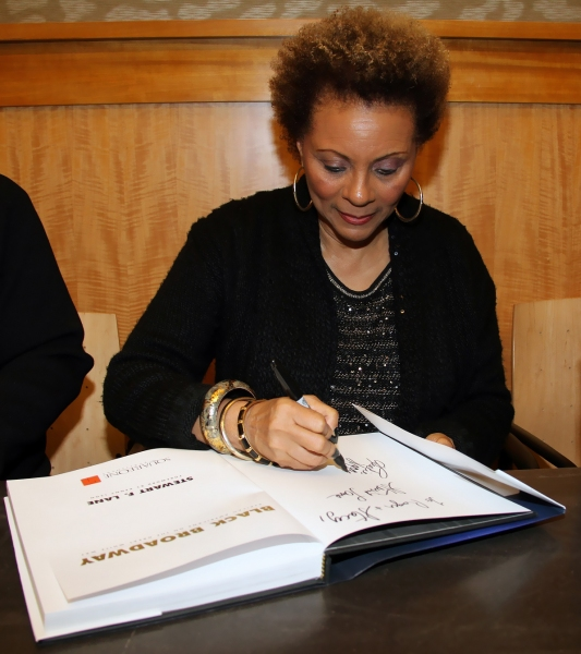 Leslie Uggams signs a copy of  the new book Black Broadway at Barnes & Noble.