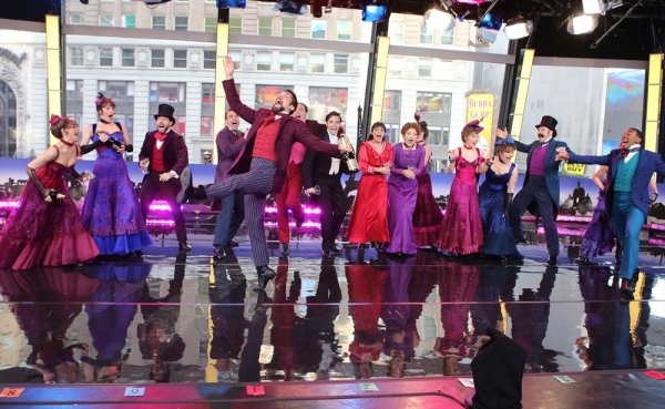 "GOOD MORNING AMERICA - Vanessa Hudgens and the cast of Broadway's ""Gigi"" perform live on ""Good Morning America,"" 3/11/15, airing on the ABC Television Network.(ABC/Fred Lee)VANESSA HUDGENS, GIGI CAST"