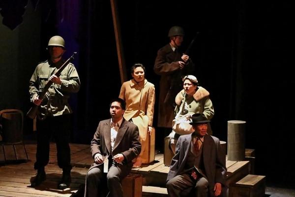 Soldier (Rob Burke), Kabuo (Tim Takechi), Hatsue (Ruth Yeo Peterman), Soldier (Austin Bennett), Fukiko (Shirley Oliver), and Hisao (Chris Wong)