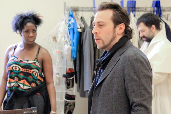 Amber Iman (Aldonza), Director Alan Paul, and Robert Mammana (Dr. Carrasco)