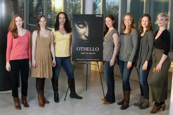Deanna Gibson (Emilia), Emily Trask (Desdemona), Leah Dutchin (Othello), Laura Frye (Iago), Abbey Siegworth (Cassio), Leah Gabriel (Roderigo), and Kate Gunther (Bianca)