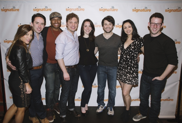 The cast and creative team behind the world premiere production of Soon at Signature Theatre. Tricia Small, Matthew Gardiner, Darius Smith, Joshua Morgan, Jessica Hershberg, Alex Brightman, Natascia Diaz and Nick Blaemire.