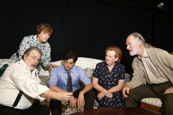 The Family takes a stab at Trivial Pursuit (left to right - Scott Holmes, Jeanette Sebesta, Louis Crespo, Anne Boyd, John Stevens)