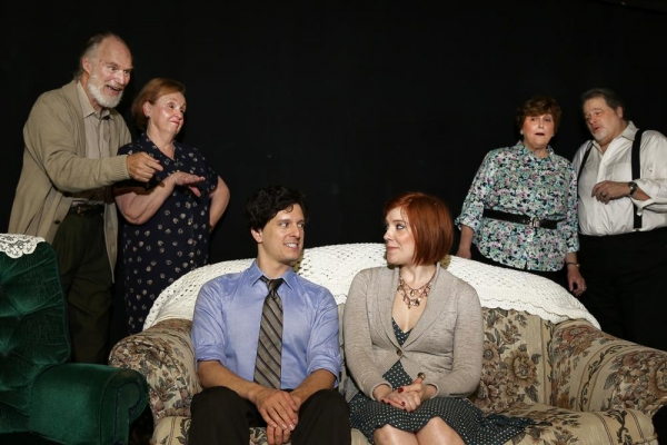 As Nick (Louis Crespo) and Caitlin (Theresa Hunt) get to know each other, the grandparents eavesdrop (John Stevens, Anne Boyd, Jeanette Sabesta, Scott Holmes).
