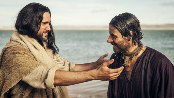 "A.D. THE BIBLE CONTINUES -- ""TBD"" Episode 102 -- Pictured: Juan Pablo Di Pace as Jesus, Adam Levy as Peter -- (Photo by: Joe Alblas/LightWorkers Media/NBC)"
