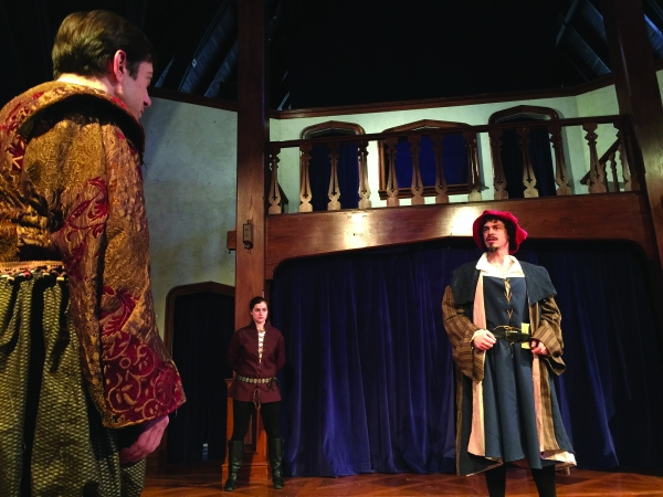 Zach Brewster-Geisz (Antonio), Tegan Williams (Jailor) and Ian Blackwell Rogers (Shylock)