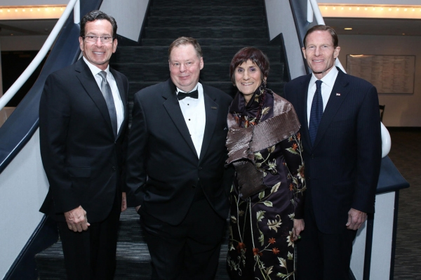 Governor Dannel P. Malloy, State of Connecticut; John Fisher, Executive Director, Shubert Theatre; Congresswoman Rosa DeLauro, State of Connecticut; Senator Richard Blumenthal, State of Connecticut