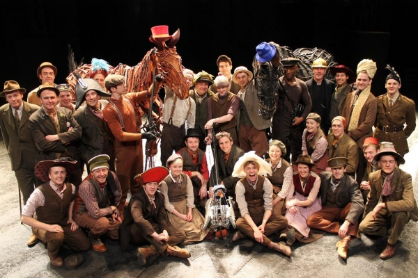 WAR HORSE cast at the New London Theatre for Brain Tumour Research ''Wear a Hat'' Day