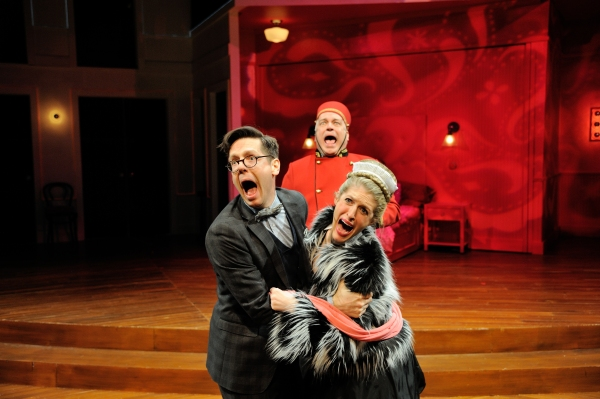 Stephen Thorne as Camille Chandebise, Fred Sullivan, Jr. as Pocket and Alex Woodruff as Antoinette