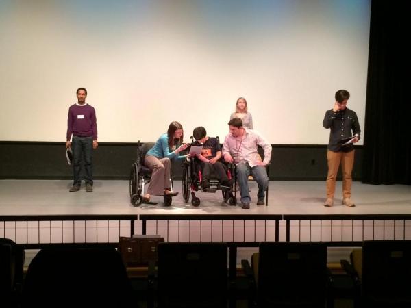 Actor Samuel Stricklen, actress Heather Kelley, Arts Access playwright Tatyana Manous Photo
