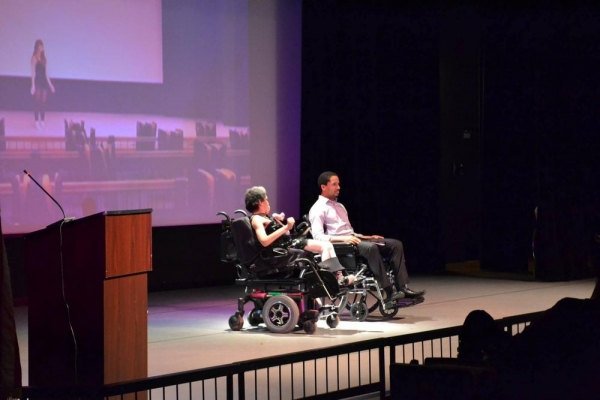 Arts Access playwright Natalia Manning and actor Samuel Stricklen perform Ms. Manning Photo