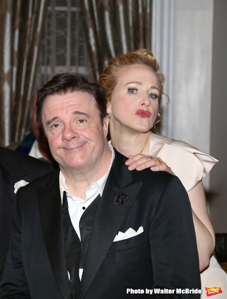 during a backstage champagne celebration to welcome original cast member Nathan Lane and new cast member T.R. Knight to the production of ''It''s Only A Play'' at the Bernard B. Jacobs Theatre on March 31, 2015 in New York City.