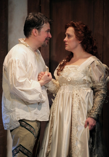 Nicholas Rose as Petruchio and Kelly Mengelkoch as Kate