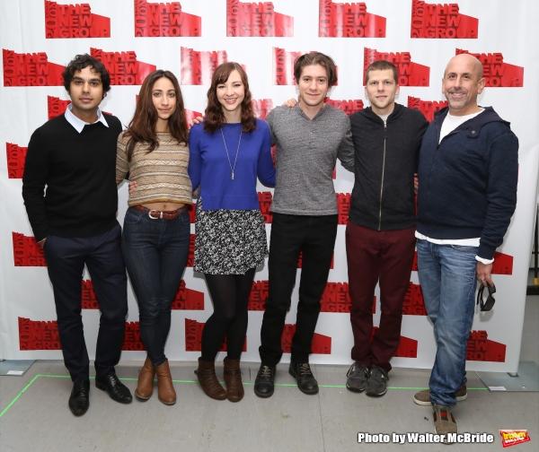 Kunal Nayyar, Annapurna Sriram, Erin Darke, Michael Zegen, playwright Jesse Eisenberg and director Scott Elliott
