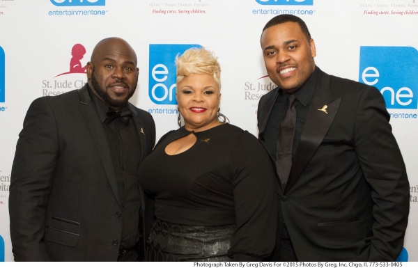 David and Tamela Mann on the red carpet with Phil Thornton, eOne Music Urban Inspirational General Manager and Vice President, and an executive producer of ''It''s A Mann''s World,'' at the eOne Music post-Stellar Awards Celebration.