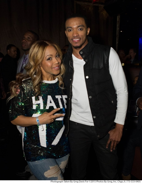 Erica Campbell reunites with Jonathan McReynolds, whoâ€s featured on her song ''All I Need Is You Remix'' from her Help 2.0 album, at the eOne Music post-Stellar Awards Celebration.
