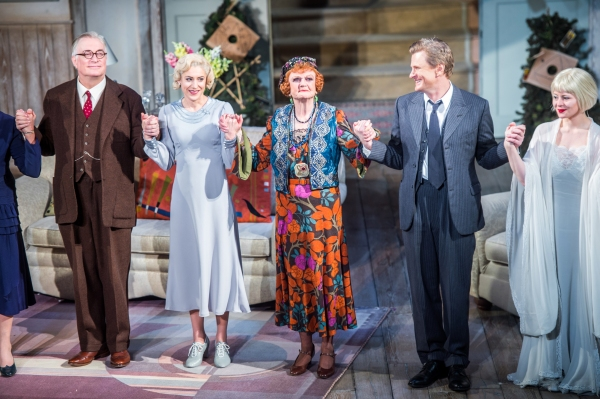 The cast of BLITHE SPIRIT takes their final curtain call. (left to right) Simon Jones, Charlotte Parry, Angela Lansbury, Charles Edwards and Melissa Woodbridge.