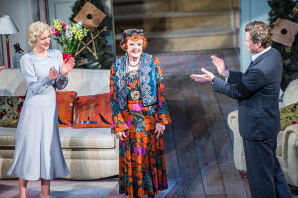 The cast of BLITHE SPIRIT joins the audience in congratulating Angela Lansbury during their final curtain call.