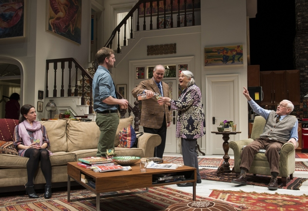 Audrey Francis (Claire), Cliff Chamberlain (Mark), and ensemble members Francis Guinan (Ian), Lois Smith (Patricia) and John Mahoney (Brian)