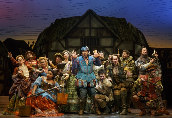 Michael James Scott (center) and the cast of SOMETHING ROTTEN!