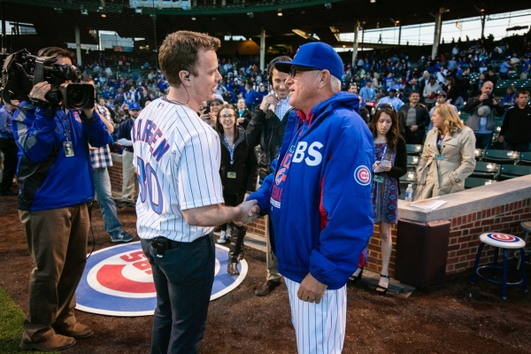 THE BOOK OF MORMON star David Larsen (Elder Price) and Chicago Cubs Manager Joe Maddon.