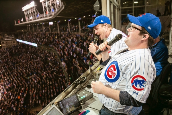 THE BOOK OF MORMON stars David Larsen (Elder Price) and Cody Jamison Strand (Elder Cunningham) lead the Chicago Cubs Seventh Inning Stretch.