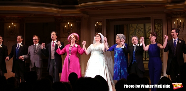 David Burtka, Edward Hibbert, Michael X. Martin, Harriet Harris, Lisa Howard, Tyne Daly, Chip Zien, Sierra Boggess and Josh Grisetti during the Broadway Opening Night Performance Curtain Call for ''It Shoulda Been You'' at The Brooks Atkinson Theatre on A