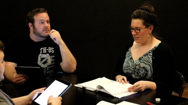 Matthew Martin (Ghostlight) rehearses a scene with Anna Kirkland as Karl Bohm for DER KANARIENVOGEL (THE CANARY)