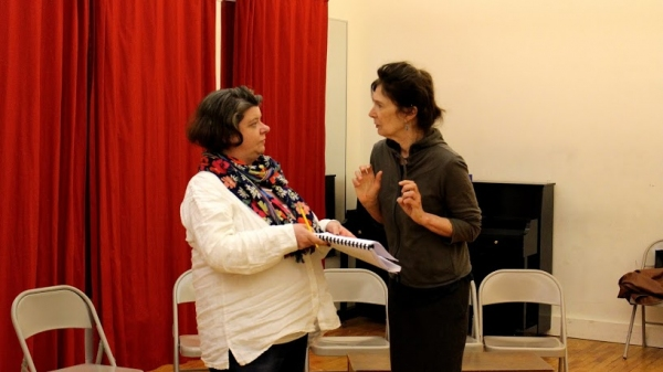 PennyLynn White (Alice B. Toklas) and Polly McKie (Gertrude Stein) rehearse a scene for LITTLE WARS