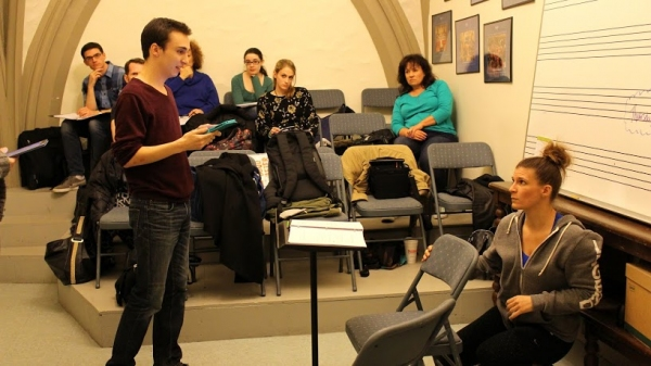 Brian Piehl (Robert Kennedy) and Kristen Gehling (Rosemary Kennedy) rehearse a scene  Photo
