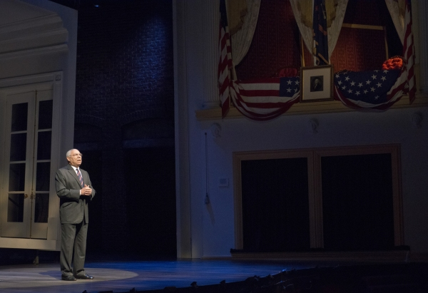 General Colin Powell speaks on stage at Ford''s Theatre.