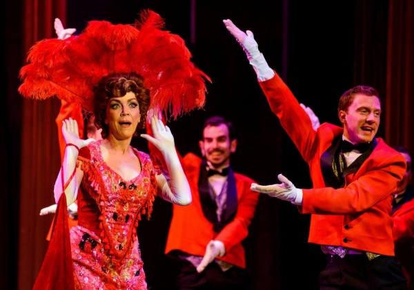 Andrea McArdle as Dolly, with waiters Zachary Chiero and JP Dunphy