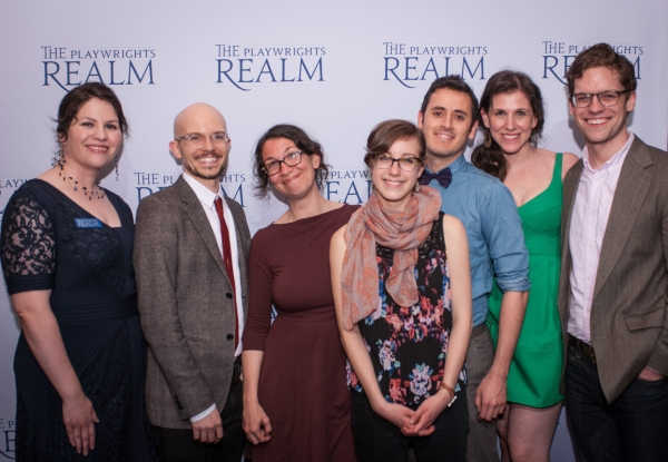 Katherine Kovner; Writing Fellows Michael Yates Crowley, Sarah Gancher, Emma Goidel and Tony Meneses with Associate Producer Kate Pines and Writing Fellows Dramaturg Alex Barron
