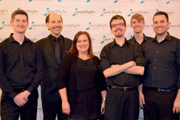 Corbin Andrick, Joey Zymonas, Porchlight Artistic Associate and Forum music director Linda Madonia, Bryant Millet, Dan Kristan and Jeff Livorsi