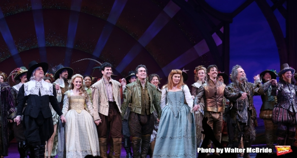 Brooks Ashmanskas, Kate Reinders, John Cariani, Brian d''Arcy James, Heidi Blickenstaff, Christian Borle, Brad Oscar and Peter Bartlett during the Broadway Opening Night Curtain Call for ''Something Rotten'' at the St. James Theatre on April 22, 2015 in N