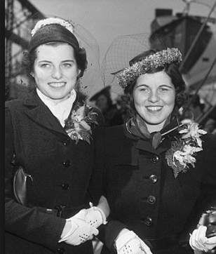 Rosemary and her protector, Eunice Kennedy, preparing to sail to England in 1938. Photo