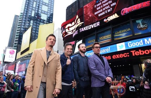 Robert Downey Jr. (Iron Man), Chris Evans (Captain America), Mark Ruffalo (The Hulk) and Jeremy Renner (Hawk Eye)