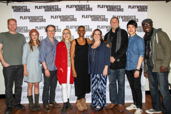 The full cast (l. to r.): Noah Emmerich, Kate Arrington, Jeremy Shamos, Sarah Goldberg, Chinasa Ogbuagu, Donna Lynne Champlin, John Procaccino, Julian Leong & Andy Lucien