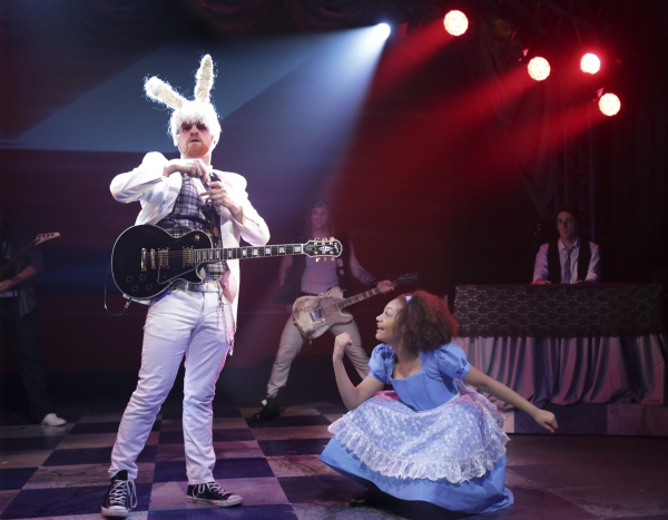 Matt Deitchman is the White Rabbit  and Ariana Burks is Alice