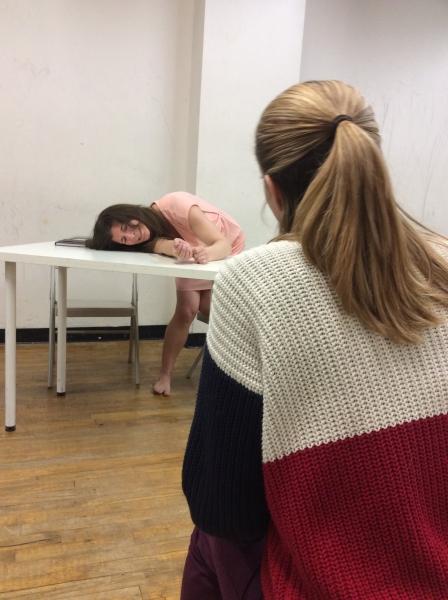 Kristen Gehling as Rosemary Kennedy, rehearsing a scene with Rachel Adams as Eunice