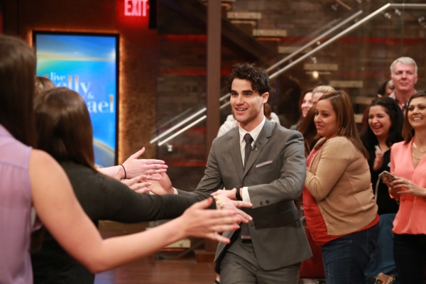 Darren Criss, Kelly Ripa and Michael Strahan