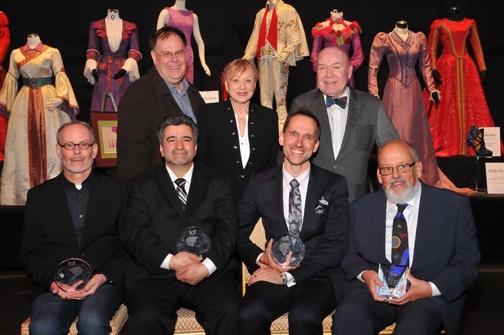 Awardees (sitting -  Jess Goldstein, Gino Bifulco, Brian C. Hemesath, Douglas W. Schmidt -- with presenters standing Gregg Barnes, Jane Greenwood, Jack O''Brien
