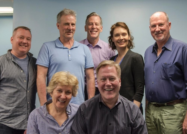 The cast of MALLORCA: (seated, l-r) Abingdon Artistic Director Jan Buttram and Director Donald Brenner; (standing, l-r) actors Rory Scholl, L.J. Ganser, Steven Hauck, Lisa Riegel, and Brian Russell.