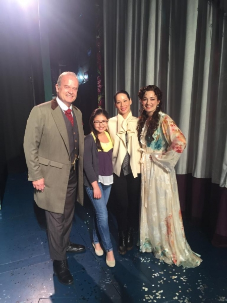 Lucy Liu and her God daughter go backstage with FINDING NEVERLAND''s Kelsey Grammer and Laura Michelle Kelly