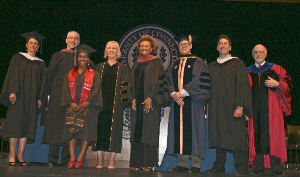 The University of Connecticut (Storrs) School of Fine Arts awarded Tony and Emmy Award winner Leslie Uggams an Honorary Doctor of Fine Arts degree during commencement ceremonies for the Class of 2015 on Saturday, May 9. Dr. Uggams delivered the Commenceme