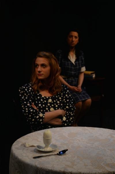 Rachel Adams as Eunice Kennedy with Kimberly Faye Greenberg as Kathleen Kennedy