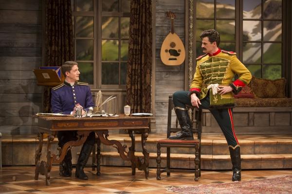 Zach Appelman as Captain Bluntschli and Enver Gjokaj as Major Sergius Saranoff