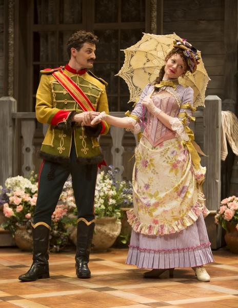Enver Gjokaj as Major Sergius Saranoff and Wrenn Schmidt as Raina Petkoff