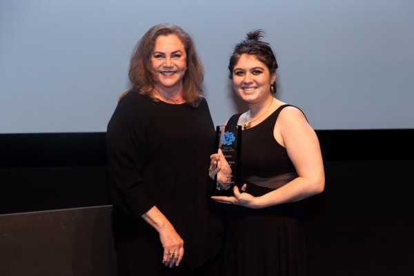 Kathleen Turner and winner of the Human Spirit Award: Alexandra Kopec, The Artificial Womb. Photo by Jacqueline Iannacone.