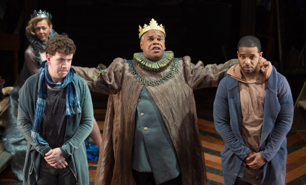 Claudius (Craig Wallace, center) directs Rosencrantz (Romell Witherspoon, right) and Guildenstern (Adam Wesley Brown) to glean what is afflicting Hamlet. Kimberly Schraf pictured in background.